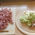 ingredients for ham, mushroom and leek risotto