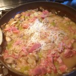 Simmering risotto